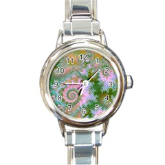 Rose Forest Green, Abstract Swirl Dance Round Italian Charm Watch