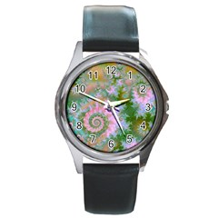 Rose Forest Green, Abstract Swirl Dance Round Leather Watch (Silver Rim)