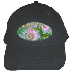 Rose Forest Green, Abstract Swirl Dance Black Baseball Cap