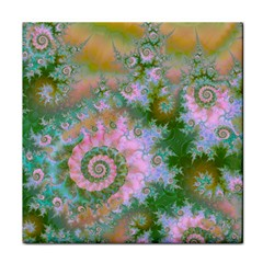 Rose Forest Green, Abstract Swirl Dance Ceramic Tile