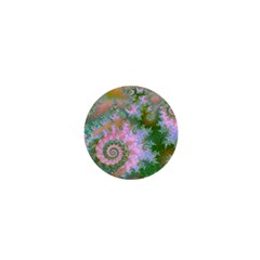 Rose Forest Green, Abstract Swirl Dance 1  Mini Button