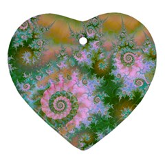 Rose Forest Green, Abstract Swirl Dance Heart Ornament