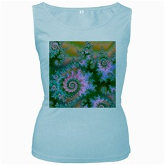 Rose Forest Green, Abstract Swirl Dance Women s Tank Top (baby Blue)