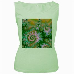 Rose Forest Green, Abstract Swirl Dance Women s Tank Top (Green)
