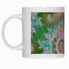 Rose Forest Green, Abstract Swirl Dance White Coffee Mug