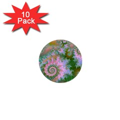 Rose Forest Green, Abstract Swirl Dance 1  Mini Button (10 pack)