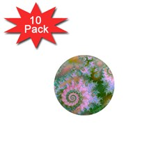Rose Forest Green, Abstract Swirl Dance 1  Mini Button Magnet (10 pack)