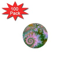 Rose Forest Green, Abstract Swirl Dance 1  Mini Button (100 Pack)