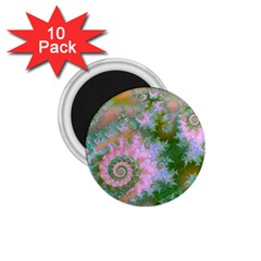 Rose Forest Green, Abstract Swirl Dance 1.75  Button Magnet (10 pack)