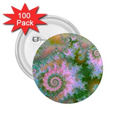 Rose Forest Green, Abstract Swirl Dance 2.25  Button (100 pack)