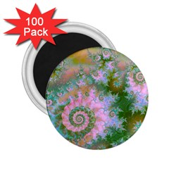 Rose Forest Green, Abstract Swirl Dance 2.25  Button Magnet (100 pack)