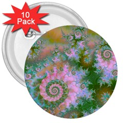 Rose Forest Green, Abstract Swirl Dance 3  Button (10 pack)
