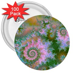 Rose Forest Green, Abstract Swirl Dance 3  Button (100 pack)