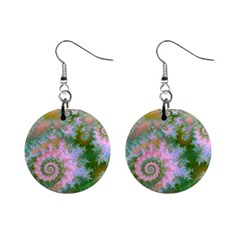 Rose Forest Green, Abstract Swirl Dance Mini Button Earrings