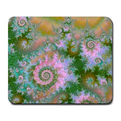Rose Forest Green, Abstract Swirl Dance Large Mouse Pad (Rectangle)