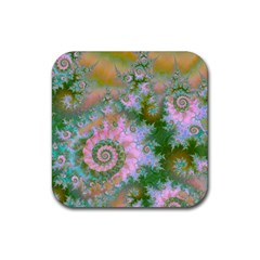 Rose Forest Green, Abstract Swirl Dance Drink Coaster (square)