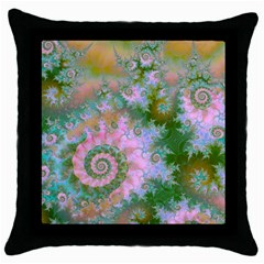 Rose Forest Green, Abstract Swirl Dance Black Throw Pillow Case