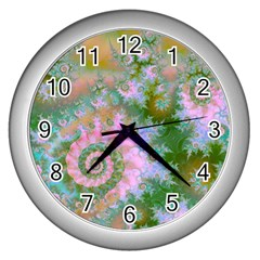 Rose Forest Green, Abstract Swirl Dance Wall Clock (Silver)