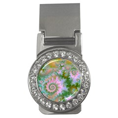 Rose Forest Green, Abstract Swirl Dance Money Clip (cz)