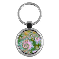 Rose Forest Green, Abstract Swirl Dance Key Chain (Round)
