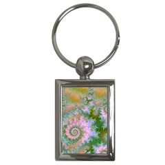 Rose Forest Green, Abstract Swirl Dance Key Chain (Rectangle)