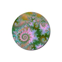 Rose Forest Green, Abstract Swirl Dance Drink Coasters 4 Pack (Round)