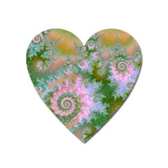 Rose Forest Green, Abstract Swirl Dance Magnet (heart)