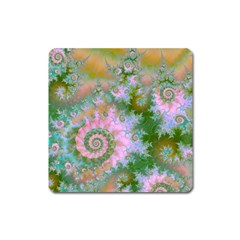 Rose Forest Green, Abstract Swirl Dance Magnet (Square)