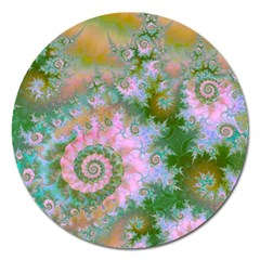Rose Forest Green, Abstract Swirl Dance Magnet 5  (Round)
