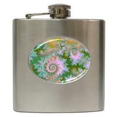 Rose Forest Green, Abstract Swirl Dance Hip Flask