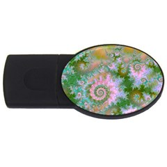 Rose Forest Green, Abstract Swirl Dance 2GB USB Flash Drive (Oval)