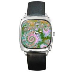 Rose Forest Green, Abstract Swirl Dance Square Leather Watch