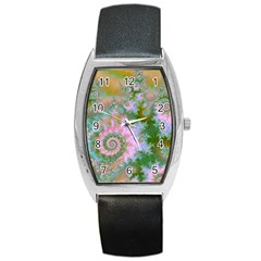Rose Forest Green, Abstract Swirl Dance Tonneau Leather Watch