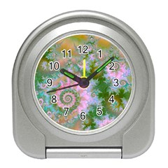 Rose Forest Green, Abstract Swirl Dance Desk Alarm Clock