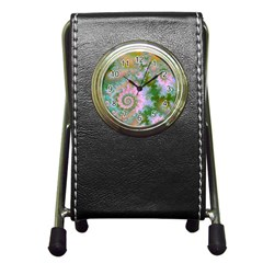 Rose Forest Green, Abstract Swirl Dance Stationery Holder Clock
