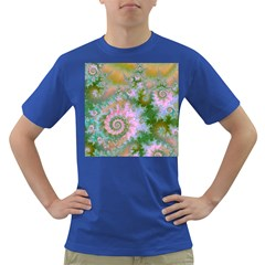 Rose Forest Green, Abstract Swirl Dance Men s T-shirt (Colored)