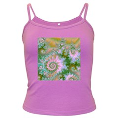 Rose Forest Green, Abstract Swirl Dance Spaghetti Top (Colored)