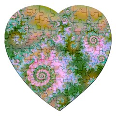 Rose Forest Green, Abstract Swirl Dance Jigsaw Puzzle (Heart)