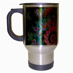 Rose Forest Green, Abstract Swirl Dance Travel Mug (Silver Gray)