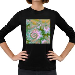 Rose Forest Green, Abstract Swirl Dance Women s Long Sleeve T-shirt (Dark Colored)