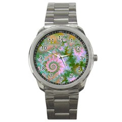 Rose Forest Green, Abstract Swirl Dance Sport Metal Watch