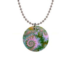 Rose Forest Green, Abstract Swirl Dance Button Necklace