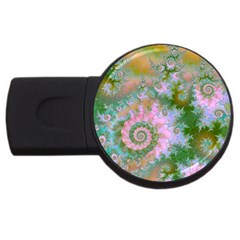 Rose Forest Green, Abstract Swirl Dance 4GB USB Flash Drive (Round)