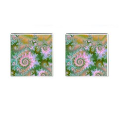 Rose Forest Green, Abstract Swirl Dance Cufflinks (square)