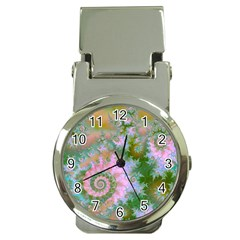 Rose Forest Green, Abstract Swirl Dance Money Clip with Watch