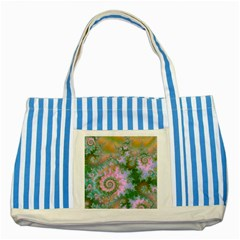 Rose Forest Green, Abstract Swirl Dance Blue Striped Tote Bag