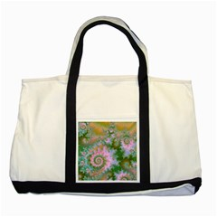 Rose Forest Green, Abstract Swirl Dance Two Toned Tote Bag