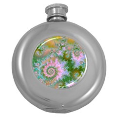 Rose Forest Green, Abstract Swirl Dance Hip Flask (Round)