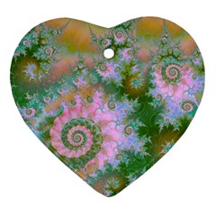 Rose Forest Green, Abstract Swirl Dance Heart Ornament (Two Sides)