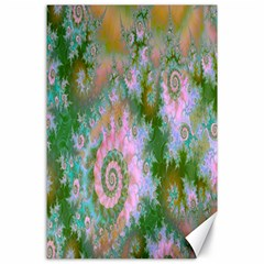 Rose Forest Green, Abstract Swirl Dance Canvas 24  X 36  (unframed)